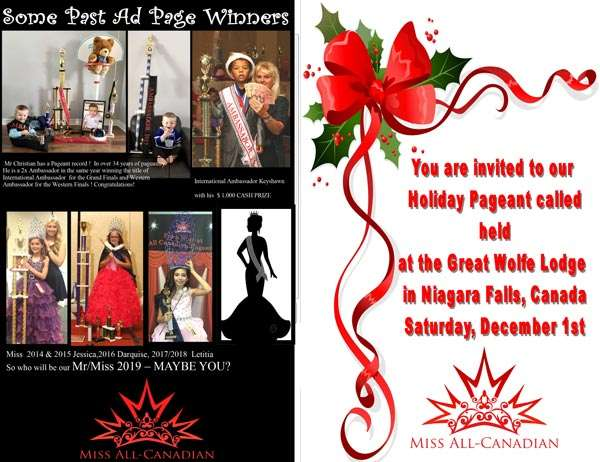 2018 HOLIDAY PAGEANT - GREAT WOLFE - ONTARIO - MISS ALL CANADIAN PAGEANTS
