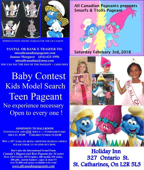 SMURFS AND TROLLS PAGEANT - ONTARIO - MISS ALL CANADIAN PAGEANTS